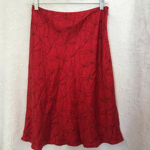 Ann Taylor Loft Red Black Bias Silk Skirt